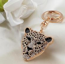 Top grade high quality creative gift tiger head alloy metal crystal keychains