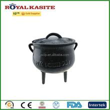 Súper ventas de hierro fundido potjie olla, esmalte tres piernas fundición de hierro ollas, hierro olla de fuego