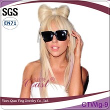 Long wig Lady GaGa style straight blond bow party wig