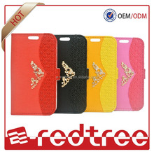 Hot sale card holder Flip Leather PU Wallet Cover Case for Iphone 6