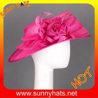 Fuschia ladies sinamay church hats with flower and feather
