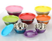 colorato in acciaio inox cesto di frutta con coperchio di plastica