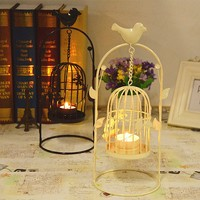 Portal bird cage metal candle holder with leaves and flowers for home decoration