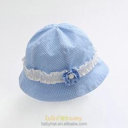 children girls kids dots bucket hat with ruffles ribbon flower