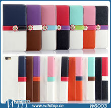 Dual Color Leather Case for iPhone 6 Plus Flip Wallet Case with Card Holders