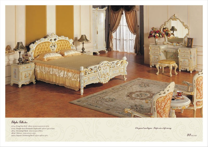 European style bedroom furniture french baroque wooden for European style bedroom