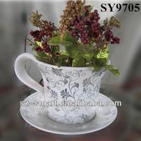 Elegant ceramic coffee cup shape flower pot