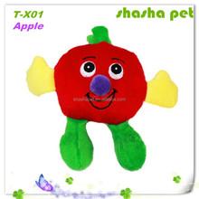 Apple plush squeaker pet toy,dog plush toys, dog toys free samples