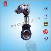 Electric knife gate valve gear operated