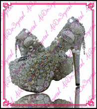 Aidocrystal handmade crystal studded Wedding shoes platform heels evening party shoes
