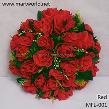 Mix color artificial wedding flower; decorative red rose bouquet for home,hotel,party&wedding decoration(MFL-001)