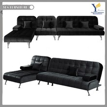 Living room fabric click clack sofa bed