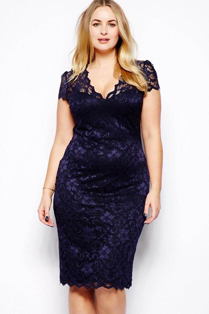 New 2016 Sexy Dress Chubby Girl Scalloped V Neck Lace Dress Novelty