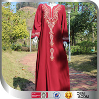 2015 New Arrival Malaysia red color traditional women dress delicated embroidered traditional Muslim dress
