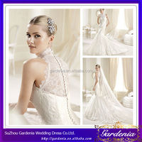 2014 New Designers Full Length High Neck Button Back Lace Mermaid Ghana Wedding Dresses (ZX329)