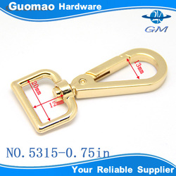 20mm square ring light gold metal clasp for bag