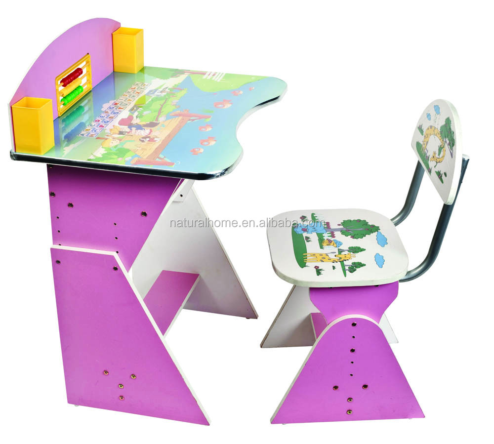 kids furniture solid wood cartoon study table and chair set wooden
