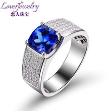 2015 New Design Jewellry Tanzanite Rings With Natural Diamond Cushion 7x7mm In 18Kt White Gold For Sale