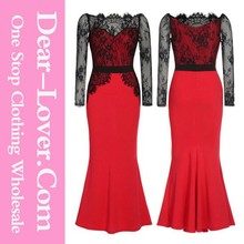 High quality 2015 Red Lace Long Maxi Prom Formal pop line evening dresses