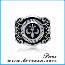 Top quality 316L stainless steel cool cross rock black casting punk rings