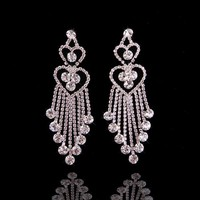 Hot Fashion Gold Plated Crystal White Stone Silver Earrings