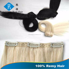 Cheap One Piece 100% Remy Human Hair curly black clip in hair extensions