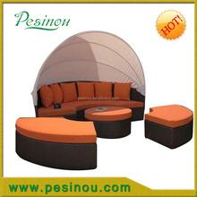 Large Garden Rattan Eye Catcher Day Bed - Woven Wicker Outdoor Bed - Antique Beige wicker lounge