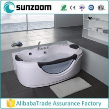 SUNZOOM small bathroom bathtub, indoor massage tub, whirlpool bath with headrests