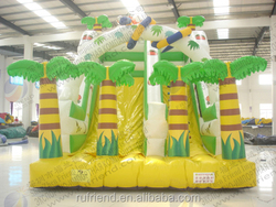 Yellow and green patterned inflatable trampoline jumping slide / inflatable jumping trampoline