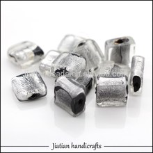 12 * 12 mm de murano negro cristal la hoja de plata beads square para la fabricación de joyas