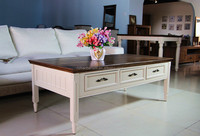 white painted 6 storage drawers solid wood coffee table used as wooden living room furniture