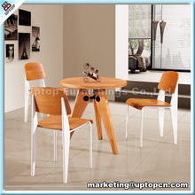 (SP-CT527) Jean prouve standard wood round dining room table and chairs