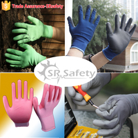 SRSAFETY 13G polyester or nylon liner coated pu on palm working gloves,free sample /rubber men gloves,China supplier,safety