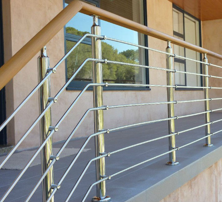 Wooden handrail stainless steel terrace railing designs for Terrace railing design