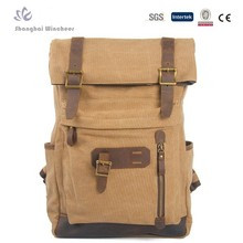Popular college leisure travel canvas backpack bags with leather trim