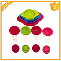 High quality food safe BPA Free silicone measuring cups with spoon for sale
