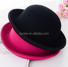 china factory wholesale 2015 fashion colorful round ladies felt hats