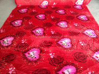Printed Red Bedding Fabric Coral Fleece Garment Fabric Wholesale