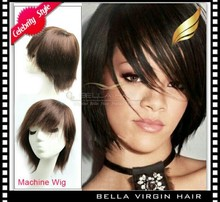 Premier 100% virgin brazilian silk straight human hair machine made wig factory sale