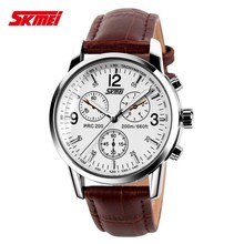 free sample leather strap watch for men,OEM design with 3BAR water resistant
