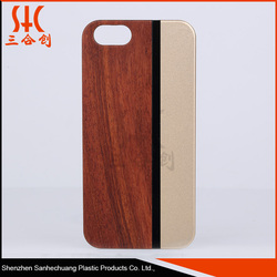 Eco friendly OEM Two Color Pattern PC Wood hybrid Phone Case for iphone