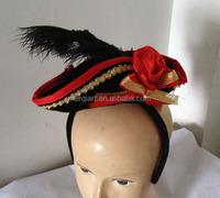 Fashion halloween costume red mini pirate hat on headband
