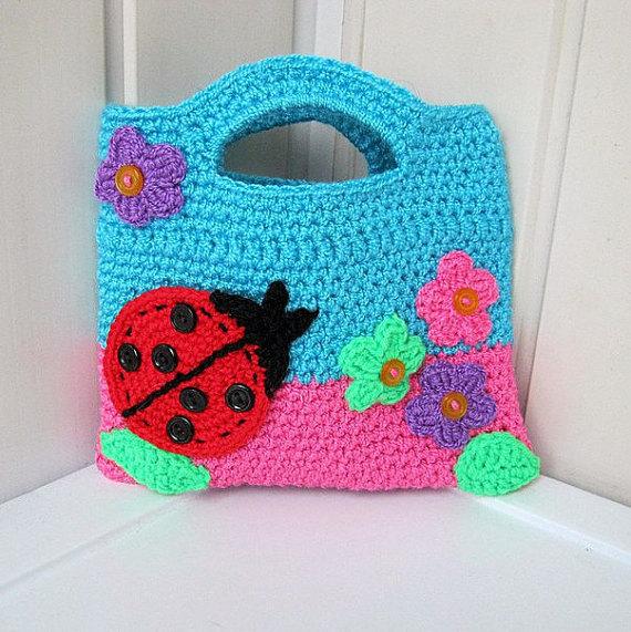 Crochet Little Girl Bags Knit Child Girl Ladybug Handbag Crochet