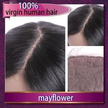 Best selling virgin human hair Brazilian body wavy middle parting silk base closure