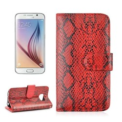 Wholesale Fashionable Snake Skin Leather Flip Case for Samsung Galaxy S6