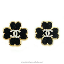 Graceful New Model CC and Clover Black Fashion Stud Earring