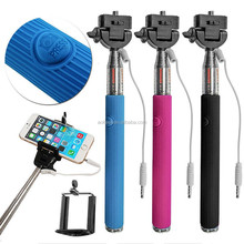 Wired Selfie Stick Monopod Built-in Shutter Extendable + Mount Holder For iPhone Samsung Smartphone HTC Android Phone