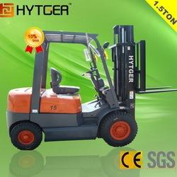 New HYTGER CE ISO1.5 Ton Gasoline Forklift Truck NISSAN K21 Engine For Sale