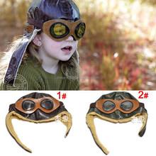 MZ1617 Hot sale Leather and velvet pilot cap Children's ear muff hat 2015