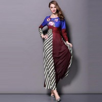 New Office Fashion Ladies Long Dress 2015 Autumn Women Striped Floral Printed Long Sleeve Casual Elegant Long Maxi Dress OL